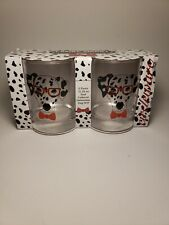 New Glasses Canine Smart Circleware Dalmation Dog  2 Pc Glass Set Red Tie