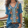 Funky Womens Floral Print Bohemian Blouse Top V-Neck Short-Sleeved Shirt Travel