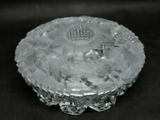 Vintage Glass Powder Box Dresser Jar Frosted Sunflowers Imperial for Irice