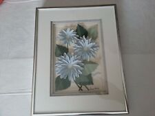 Wallpaper Flowers 3-D Picture with matt and Metal frame and wire for hanging