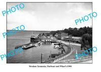 OLD LARGE PHOTO FEATURING STRAHAN TASMANIA THE HARBOUR & WHARF c1960
