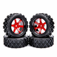 4X Rubber Tires Wheel Rim For HSP RC 1/10 RC Off Road Car D6NKR+PP0487 12mm Hex
