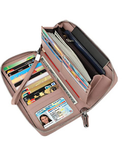 Women's RFID Blocking Leather Zip Around Wallet Large Phone Holder Clutch Travel