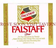 Unused Original 1971 Red Falstaff Beer 12oz Label Tavern Trove Rhode Island