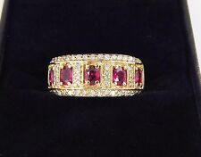 Effy 14K Fine Natural 1.50 Carat Ruby and SI2 H Diamond Wide Band