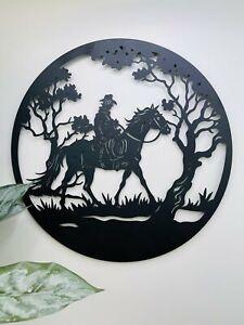 Man Riding Horse Round Metal Wall Art Laser Cut Garden Sculpture Black, 50cm