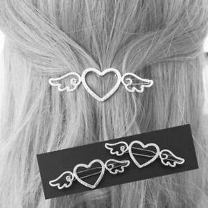 heart wing hair clip pin slide angel Christmas gift stocking filler UK silver