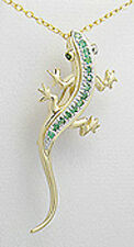 Yellow Gold Over 5.9g Sterling Silver Emerald & Vermeil Owl Pendant/Pin 2""