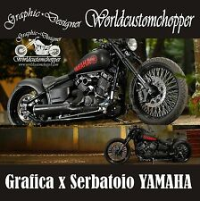 2 ADESIVI DECAL STICKERS YAMAHA CUSTOM DA SERBATOIO MOTO CUSTOM ACCESSORI
