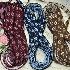 "3y Vtg 3/8"" French Wine Blue Metal Jacquard Ribbon Doll Trim Roco Rosette Antq"