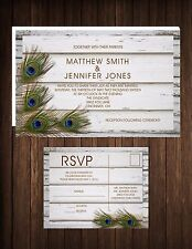 Wedding Invitations Peacock & Wood Rustic Country 50 Invitations & RSVP Postcard