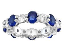 Sz 10 Bella Luce Blue Sapphire & Diamond Simulant Rhodium Over Silver Band Ring
