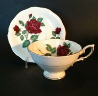 Royal Standard Pedestal Tea Cup And Saucer - Red Velvet - Red Roses - England