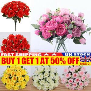 18 Heads Silk Rose Artificial Flowers Fake Bouquet Wedding Home Party Decor UK