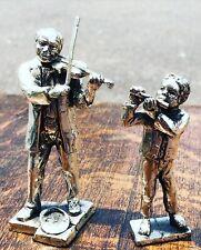 More details for silver plate figures. violinist & flutist. highly detailed figures.