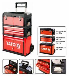Werkzeugkoffer Werkzeugtrolley Werkzeugkasten Werkzeugbox 4 Fächer rot