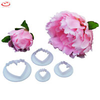 4pcs Peony Flower Petal Cake Fondant Decorating Mold Cutter Sugar Paste Tool NEW