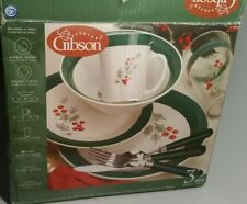 Gibson  32 Pc Christmas Holly and Berries Dinnerware China Service for Four  New