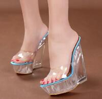 Womens Ladies Peep Toe Mules Wedge Heels Platform Clear Transparent Sandals New