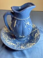Antique Wash Basin Ceramic Set Floral Royal Blue White Pitcher Delft Cracked
