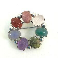 "Signed BB Vintage Sterling Silver Carved Gemstones Circle Pin/Brooch 1"" Long"