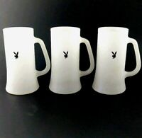 Lot of 3 Playboy White Beer Mugs Frosted Glass Stein Black Bunny Logo Vintage