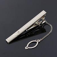New 3PCS Simple Silver Men Metal Necktie Tie Bar Clasp Clips Clamp Pins Brooch-