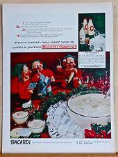 1956 magazine ad for Bacardi Rum - Eggnog recipe & caroling Elves, Christmas ad