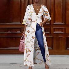 Womens Evening Long Dress Shirt Plunging Neck High Split Maxi Top Plus Size 8-24