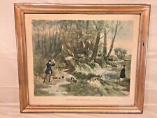"1836 R G Reeve ""Woodcock Shooting"" Antique Lithograph in Wood Frame"
