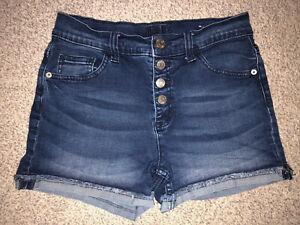 MINT JUSTICE Blue Jean Denim Shorts Girl's Size 18 Snap Front