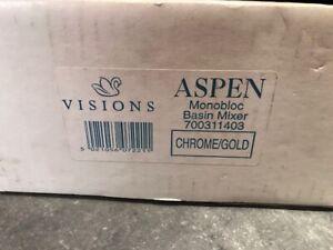 VISIONS ASPEN MONOBLOC BASIN MIXER CHROME/GOLD CIRCA 2000 NEW OLD STOCK