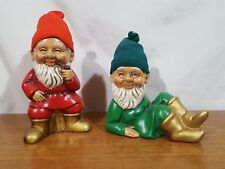 Vtg Pair of Ceramic Gnomes Elves Dwarves Hand Painted with Knit Hats Japan