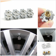 4 x Silver Chrome Dollars $ Sign Style Wheel Tire Valve Stem Air Dust Caps Cover