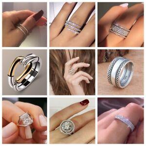 Elegant Women Jewelry 925 Silver Rings White Sapphire Wedding Rings Size 6-10