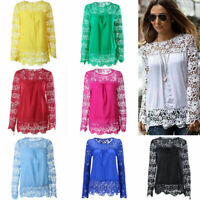 Fashion Women Summer Loose Casual Tee Shirt Long Sleeve Lace T Shirt Tops Blouse
