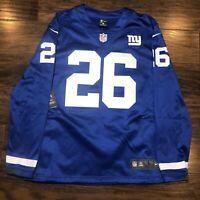 Nike NY Giants Saquon Barkley Therma Long Sleeve Jersey AH5753-495 Men's Size L
