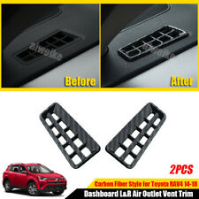For Toyota RAV4 2014-2018 Carbon Fiber Dashboard L&R Air Outlet Vent Trim Covers