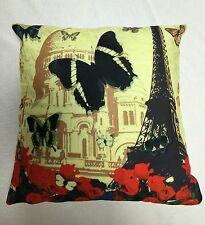 "LUXURY ANIMAL CUSHION COVER BUTTERFLY PARIS COLOURED EIFFEL TOWER  18""x18"""