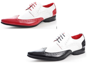 Mens Brogue Spat Dress Jazz Party Gangster Lace up Patent Shiny Shoe Red/Black