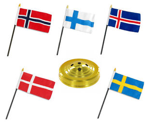 """Scandinavia Scandinavian Countries 5 Flag Set 5 Flags 4""""x6"""" Desk Set Gold Base"""