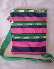 LeSportsac Kasey Rugby Stripe Green/Pink/Navy Crossbody Bag  7627 - NWT