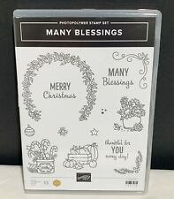 Stampin Up MANY BLESSINGS Holidays Christmas Fall Clear Rubber Stamps Set