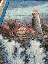 Thomas Kinkade Painter of Light Bible Verse Psalms Lighthouse Throw Blanket Wall