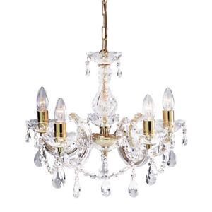 New Ivory & Deene Gold Chandelier Grace 5 Light Crystals Vintage Home Design