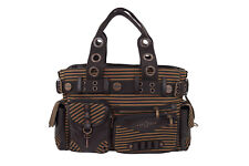 Lost Queen Vintage Steampunk Brown Striped Belted Key Charm Handbag