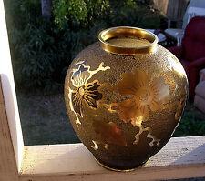 GLASS  VASE GOLD OVERLAY ACID ETCHED LARGE ELEGANT