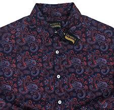 0e941db1fd7 Men s CREMIEUX PREMIUM DENIM Red Blue Paisley Cotton Shirt XL X-Large NWT  NEW