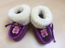 Baby Schuhe Winter Echtfell Leder Kinderwagenschuhe Länge 14 cm NEU Geschenk