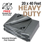 Premium Heavy Duty Canopy Tarp Poly Tarpaulin Reinforced Tent Car Boat 20 x 40
